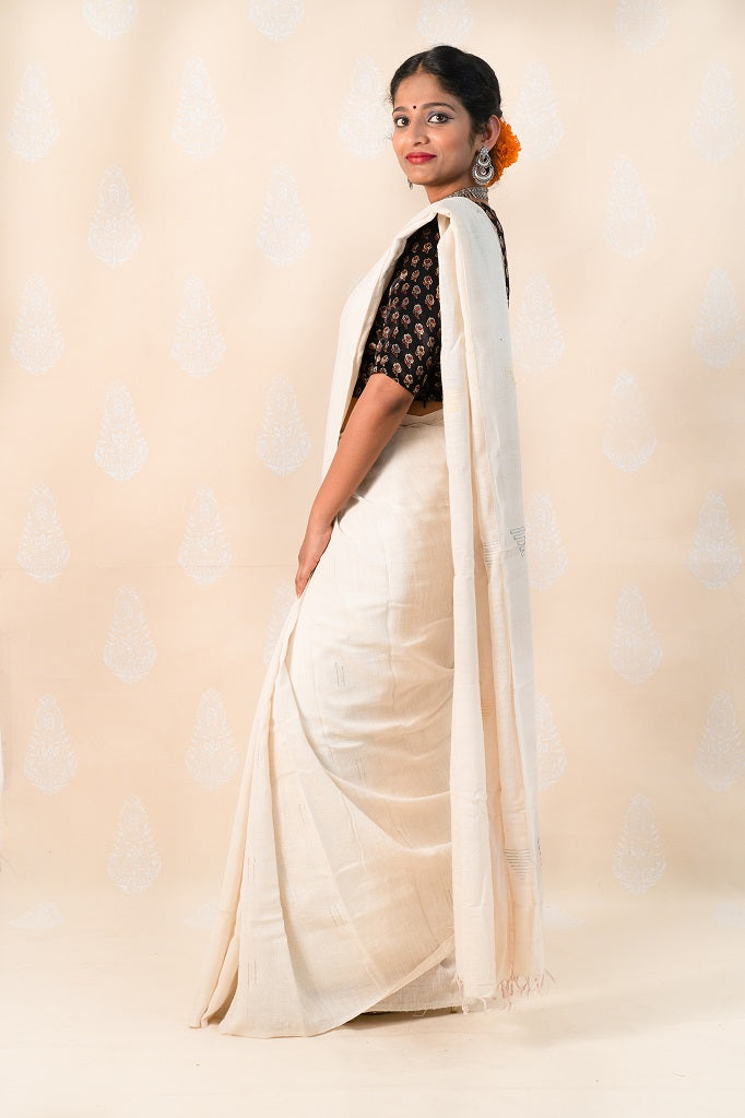 Organic natural Khadi cotton saree with Ajrakh blouse - Tina Eapen Design Studio