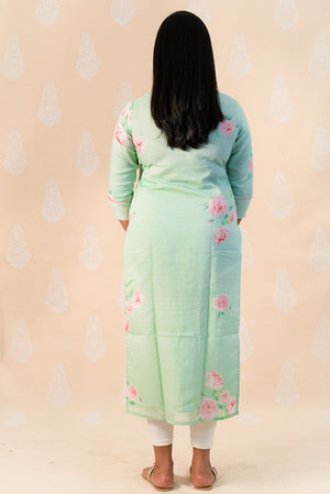 Teal Green Cotton Kurta with Pink Clusters - Tina Eapen Design Studio