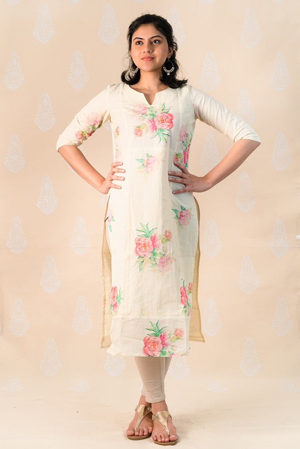 Beige Cotton Kurta with Pink Clusters - Tina Eapen Design Studio