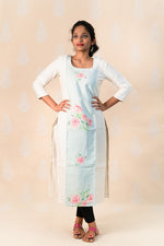 Off White Cotton Kurta with Pink Clusters - Tina Eapen Design Studio