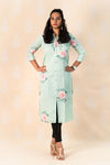 Teal Green Cotton Kurta with Roses - Tina Eapen Design Studio