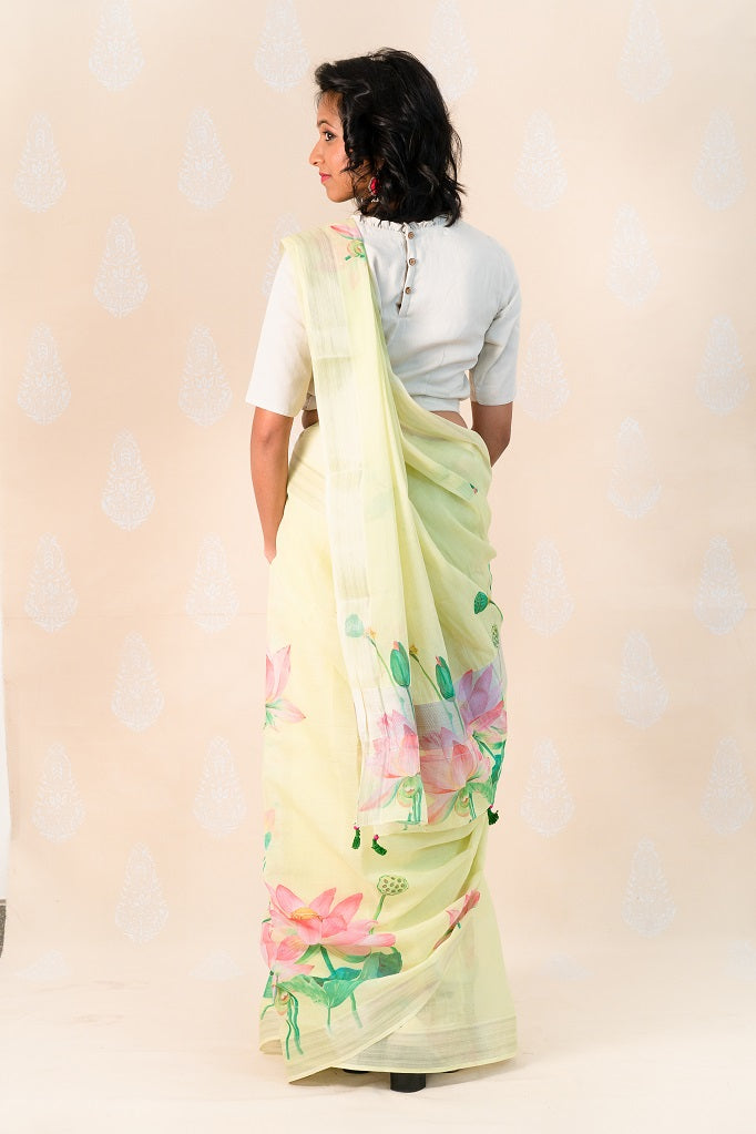 Lemon yellow Handloom Cotton Saree with Lotus - Tina Eapen Design Studio