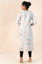 Baby Pink Cotton Kurta with Roses - Tina Eapen Design Studio