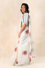 Ivory Handloom Cotton Saree with Red Clusters - Tina Eapen Design Studio