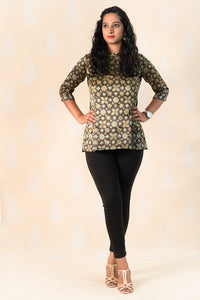 Black Mashru Silk Kurti with Ajrakh - Tina Eapen Design Studio