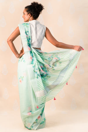 Teal Green Cotton Saree with Creepers - Tina Eapen Design Studio