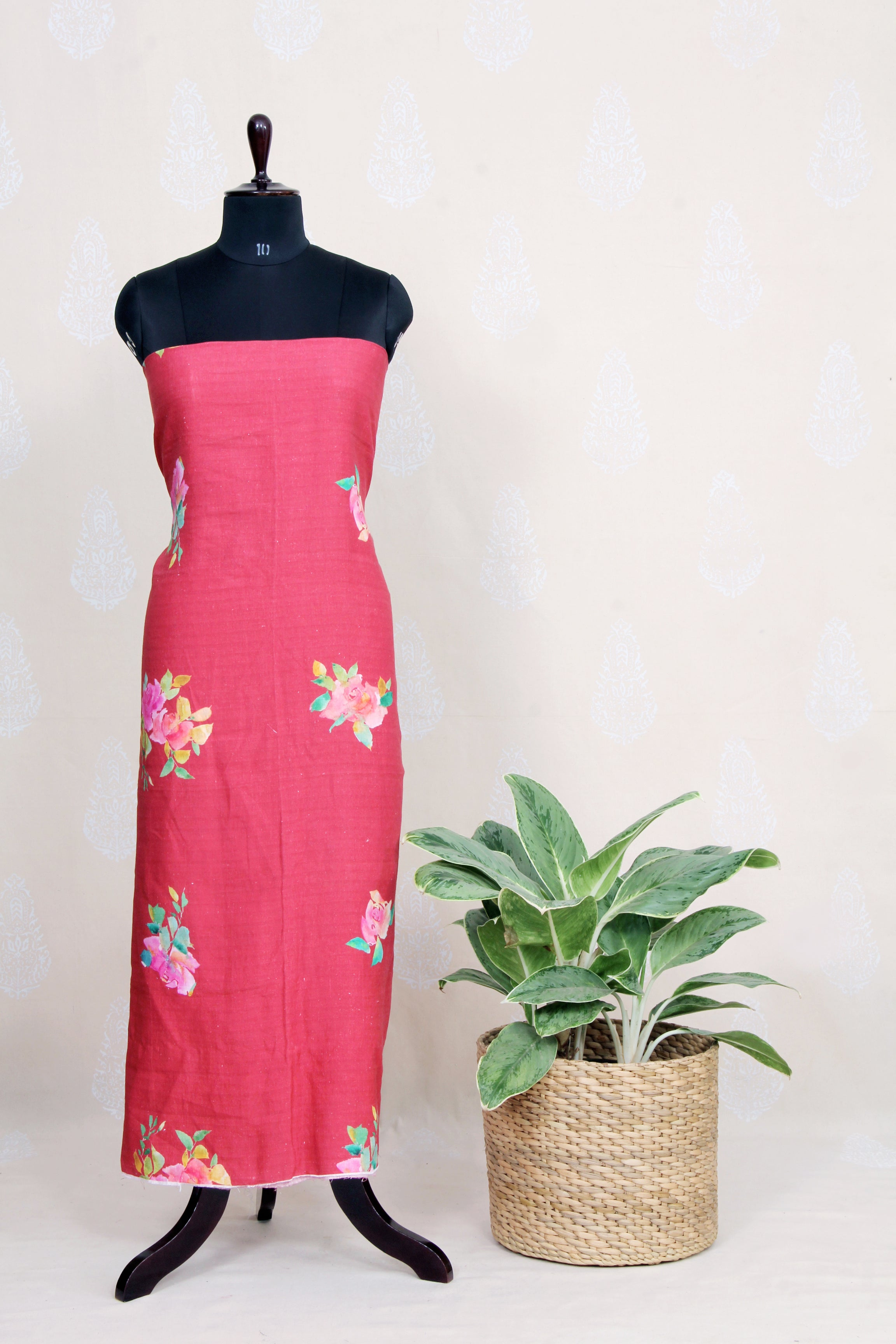 Handwoven Red Linen Kurtha Material With Water Color Print-Red - Tina Eapen Design Studio