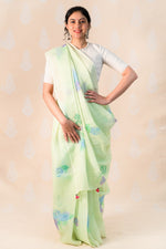 Teal Green Kota cotton saree with hydrangea - Tina Eapen Design Studio