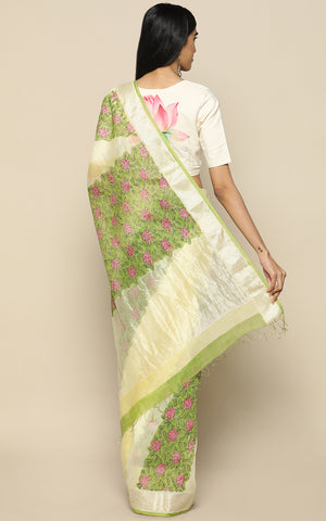 LIGHT GREEN CHANDERI SILK SAREE WITH SILVER BORDER AND HAND BLOCK PRINT