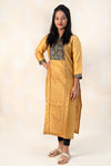 Long Mustard Chanderi Silk Kurta with Ajrakh - Tina Eapen Design Studio