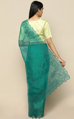 LEAF GREEN ORGANZA SILK SAREE WITH EMBROIDERY