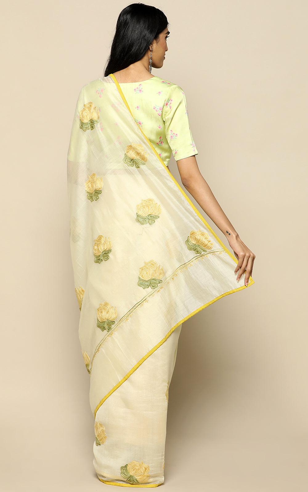 BUTTER YELLOW CHANDERI SILK SAREE WITH KASHMIRI HAND EMBROIDERY