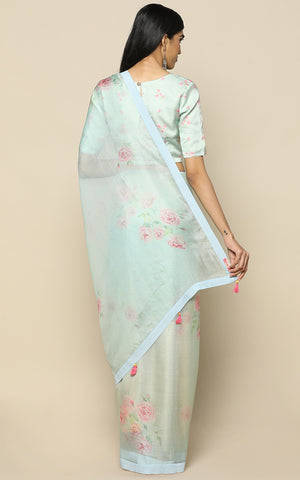 LIGHT BLUE KOTA SILK SAREE WITH PRINTED CLUSTERS OF FLOWERS IN PASTELS