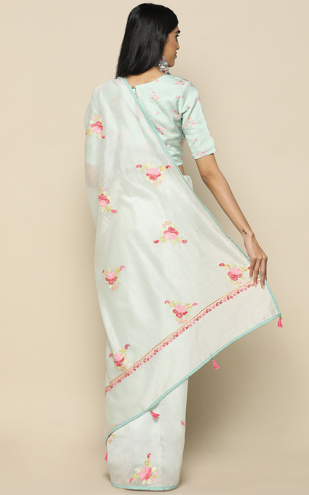 POWDER BLUE CHANDERI SILK SAREE WITH KASHMIRI HAND EMBROIDERY