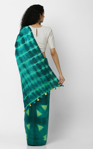 SHIBORI PURE SILK IN GREEN WITH TRIANGLES