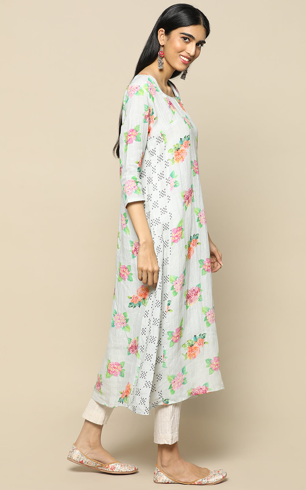 TEAL GREEN LINEN PRINTED KURTHA WITH PRINTED LINEN DUPATTA