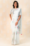 Ivory Kota cotton saree with Roses - Tina Eapen Design Studio