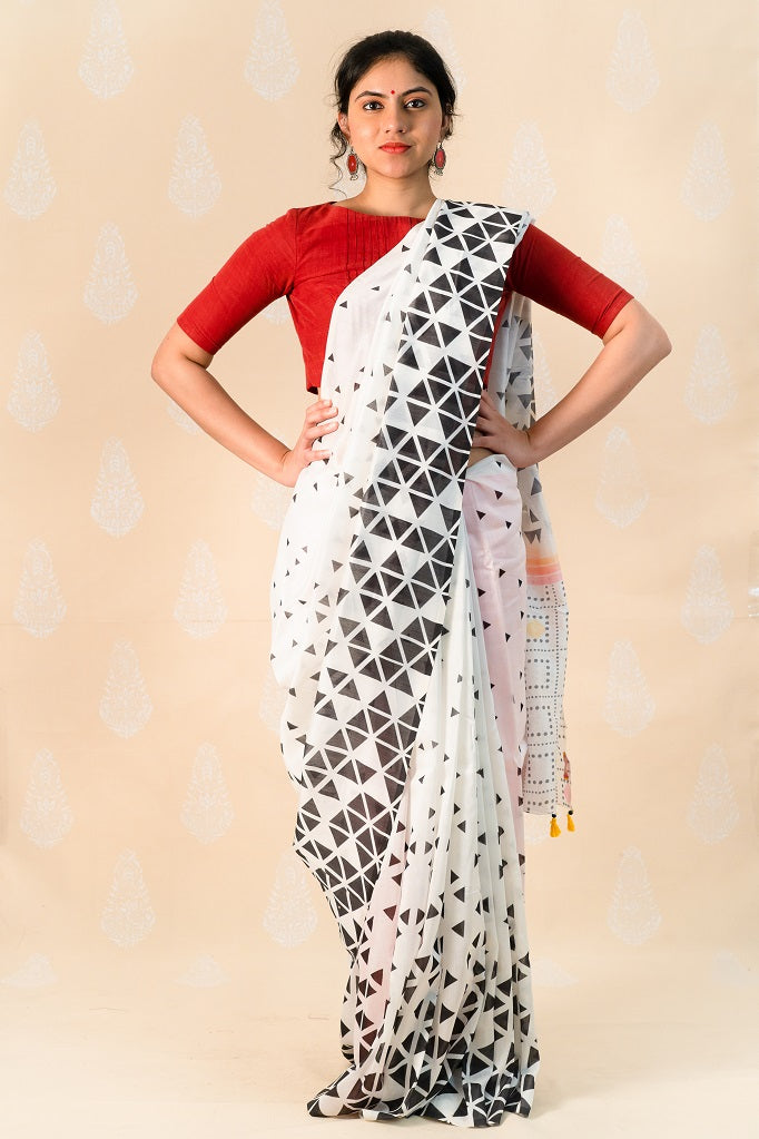 Black and White Geometric print Chanderi silk saree - Tina Eapen Design Studio