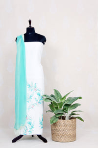 Handwoven Pure White Linen Kurtha Material With Water Color Print-White - Tina Eapen Design Studio