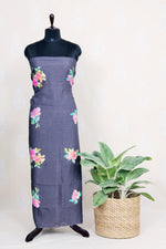 Handwoven Black Linen Kurtha  Material  With Water Color Print-Black - Tina Eapen Design Studio