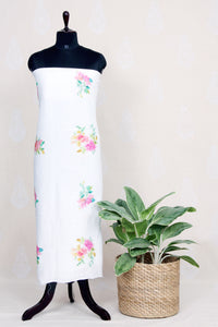 Handwoven White Linen Kurtha Material With Water Color Print-White - Tina Eapen Design Studio