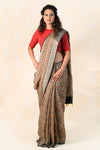 Clay Linen Saree with Ajrakh Prints - Tina Eapen Design Studio