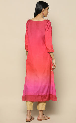 TOMATO RED WITH OMBRE SHADES, STAPLE SILK KURTHA WITH MUKAISH WORK WITH PRINTED LINEN DUPATTA
