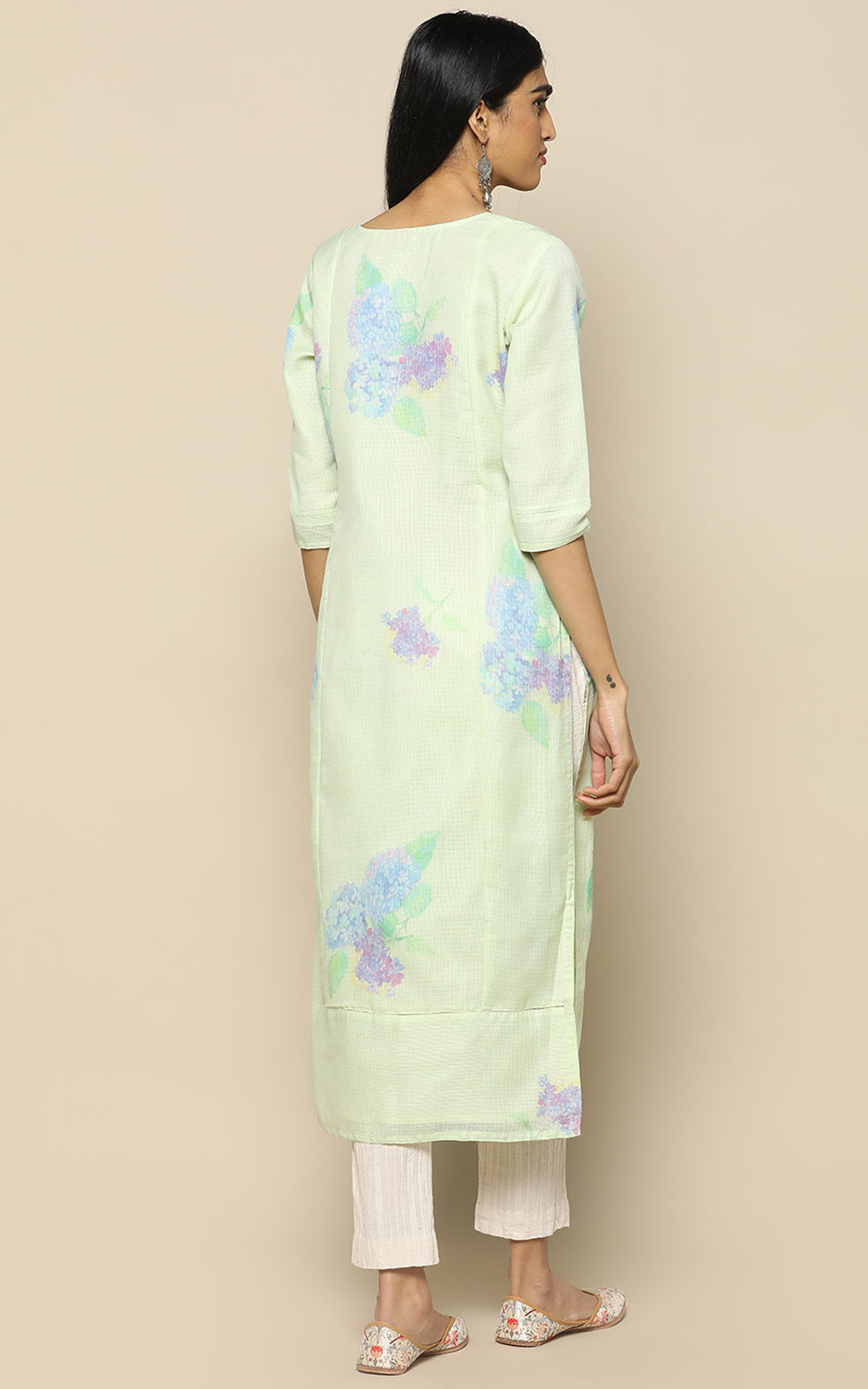 PALE GREEN KOTA COTTON KURTHA WITH PRINTED FLOWERS