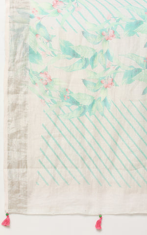 IVORY LINEN SAREE WITH PRINTED WATER COLOR FLOWERS