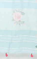 BLUE LINEN SAREE WITH ROSES