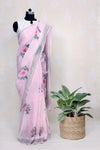 BLUSH PINK HAND WOVEN LINEN SAREE WITH WATER COLOR ROSES - Tina Eapen Design Studio