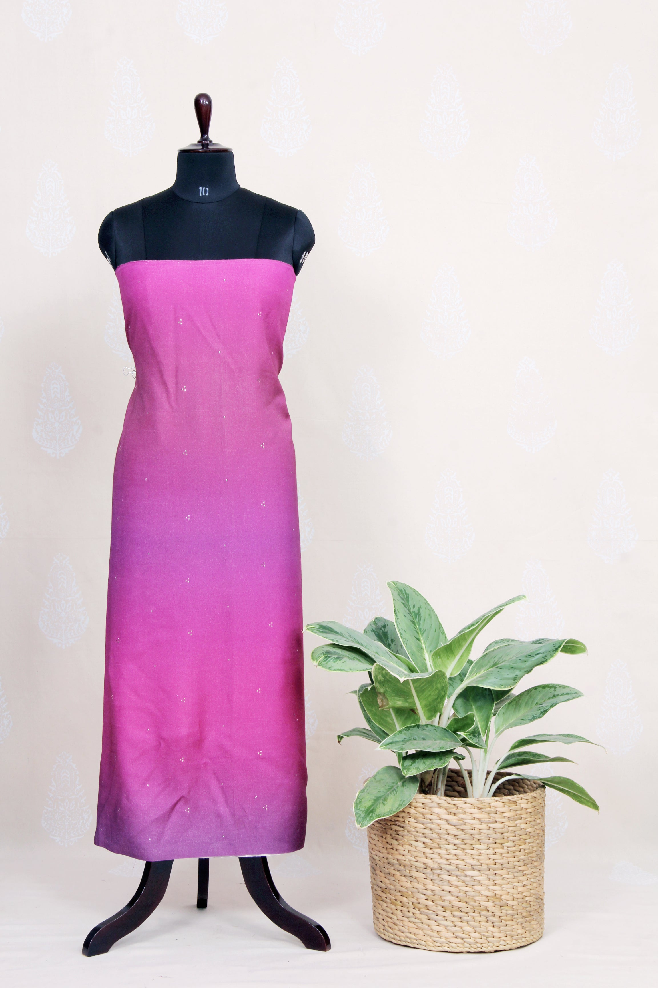 Handwoven Ombre Dyed Silk Kurtha Material With Mukaish Work- Purple - Tina Eapen Design Studio