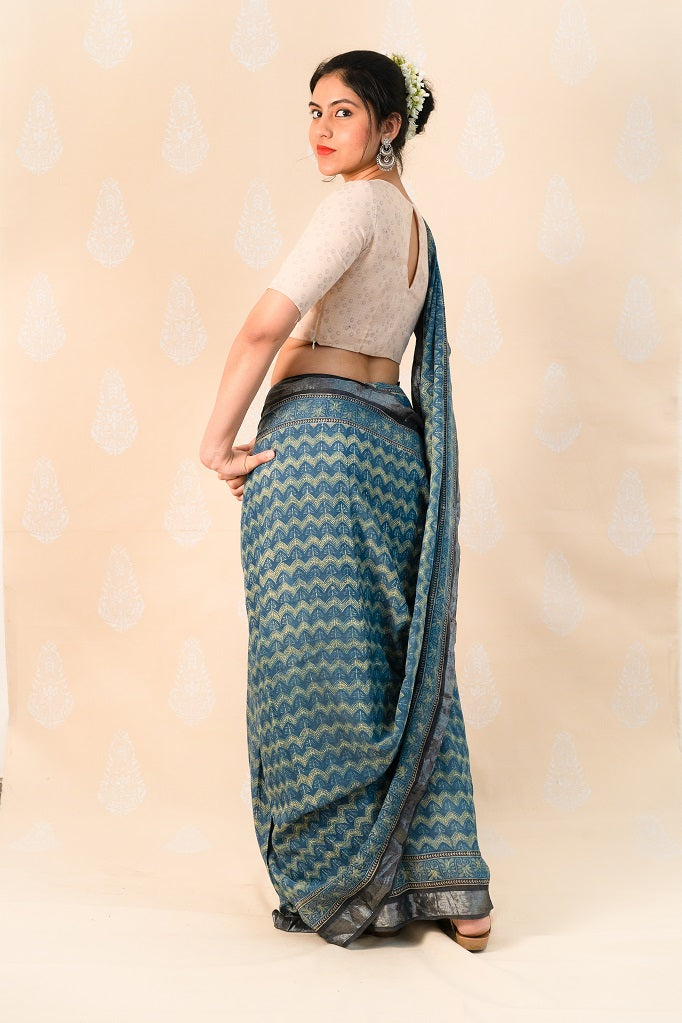 Blue Handloom cotton with Ajrakh print - Tina Eapen Design Studio