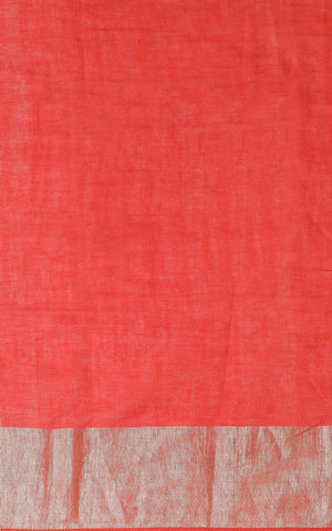 BRICK RED COTTON SAREE WITH KASHMIRI HAND EMBROIDERY