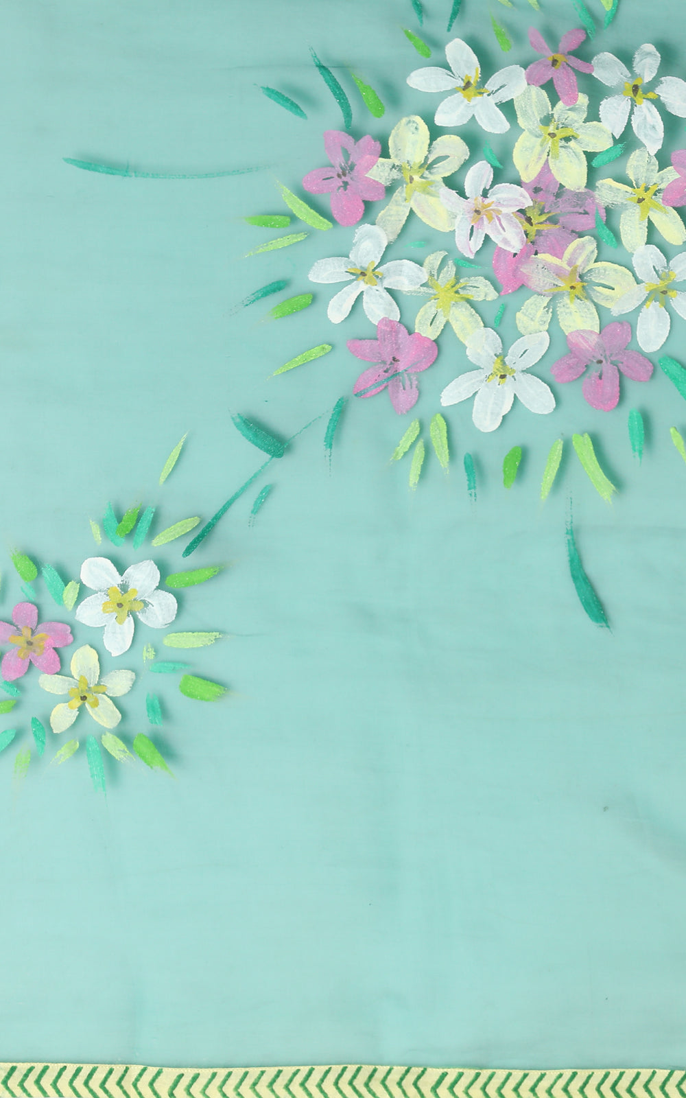 BOTTLE GREEN ORGANZA SILK SAREE WITH HANDPAINTED FLOWERS