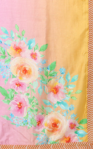 PURE SILK SAREE IN PEACH AND ORANGE WITH FLOWERS
