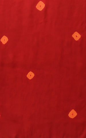 SHIBORI PURE SILK IN RED WITH ORANGE SQUARES