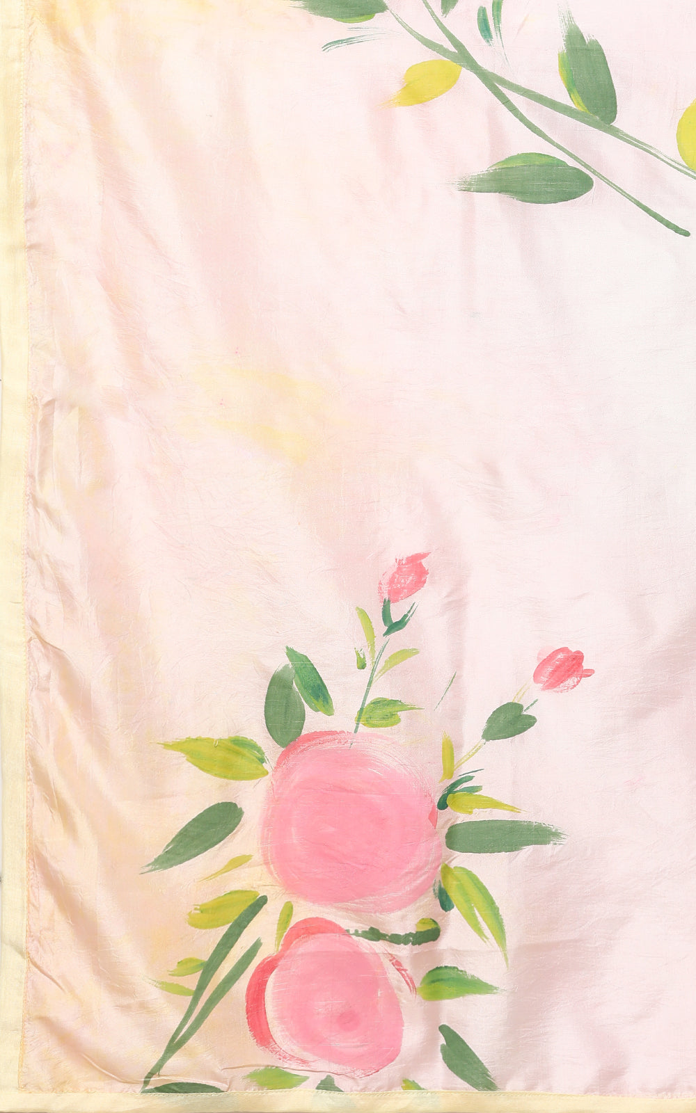 SHADED PURE SILK SAREE WITH PASTEL HANDPAINTED FLOWERS