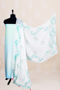 Handwoven Ombre Dyed Silk Kurtha Material  With Mukaish Work-Sea Green - Tina Eapen Design Studio