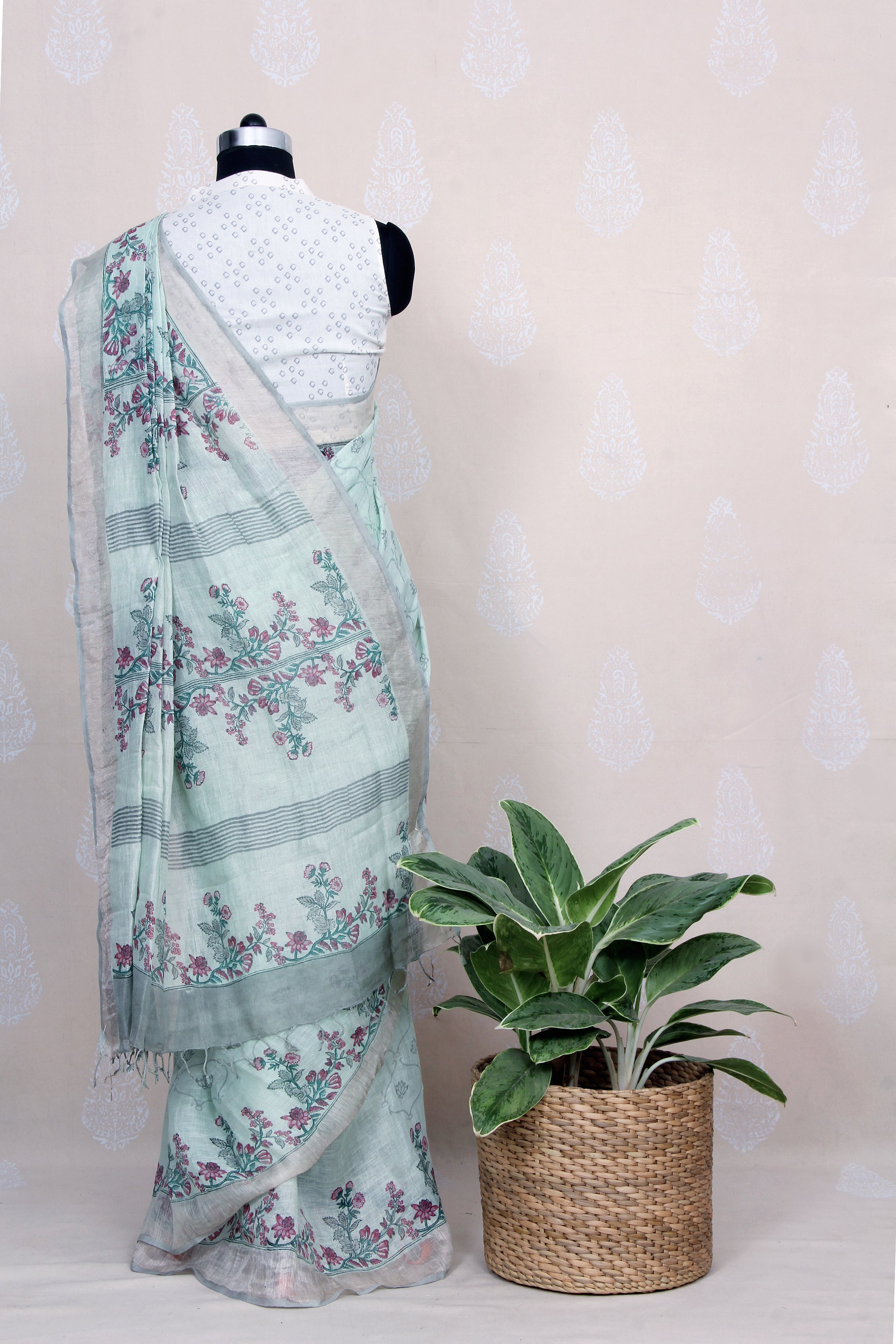 TEAL GREEN HANDWOVEN LINEN SAREE WITH HAND BLOCK PRINT IN GREY AND PURPLE - Tina Eapen Design Studio
