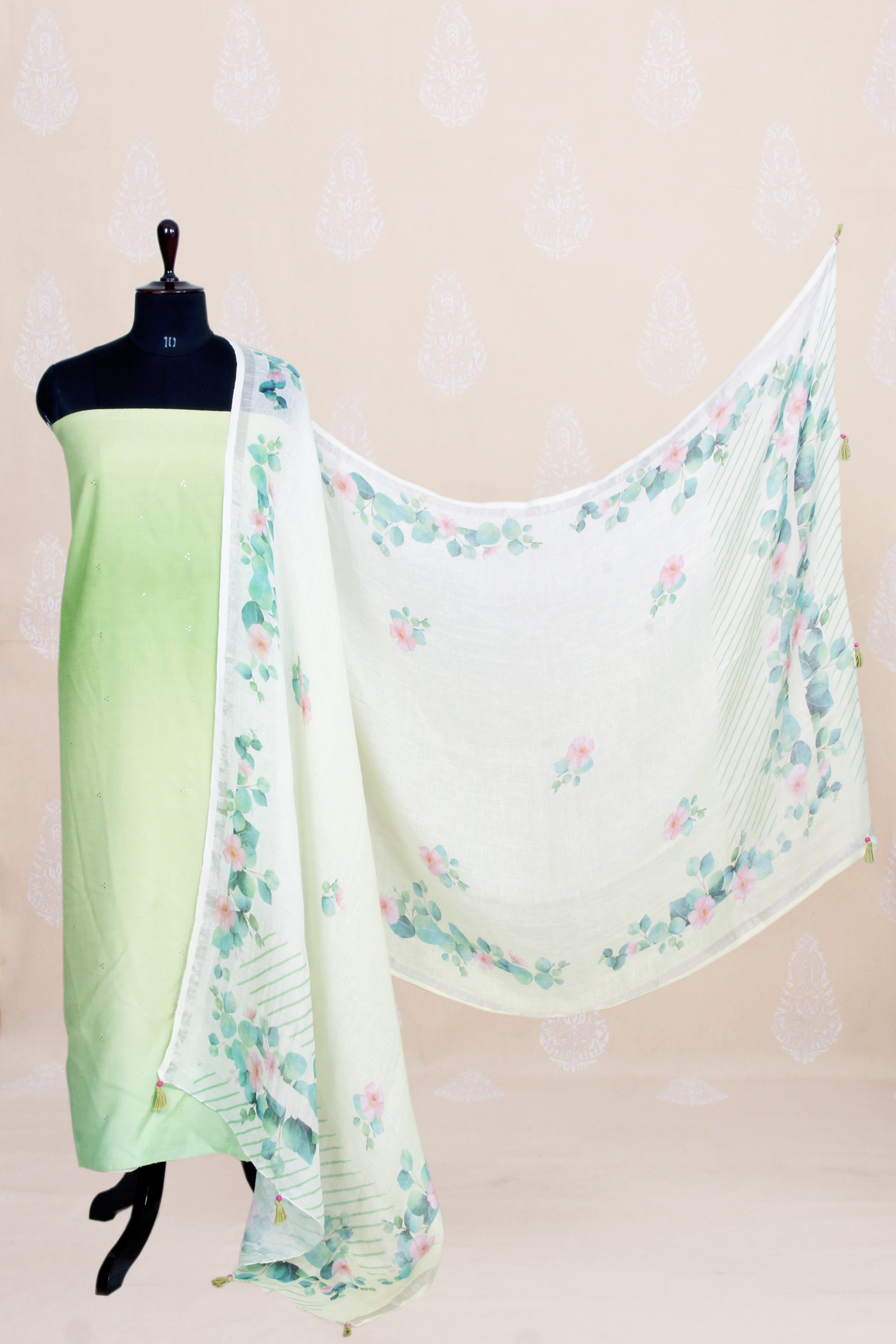 Handwoven Ombre Dyed Silk Kurtha Material With Mukaish Work-Mint Green - Tina Eapen Design Studio