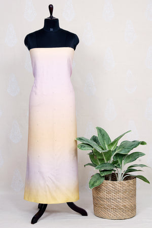 Handwoven Ombre Dyed Silk Kurtha Material With Mukaish Work-Peach - Tina Eapen Design Studio