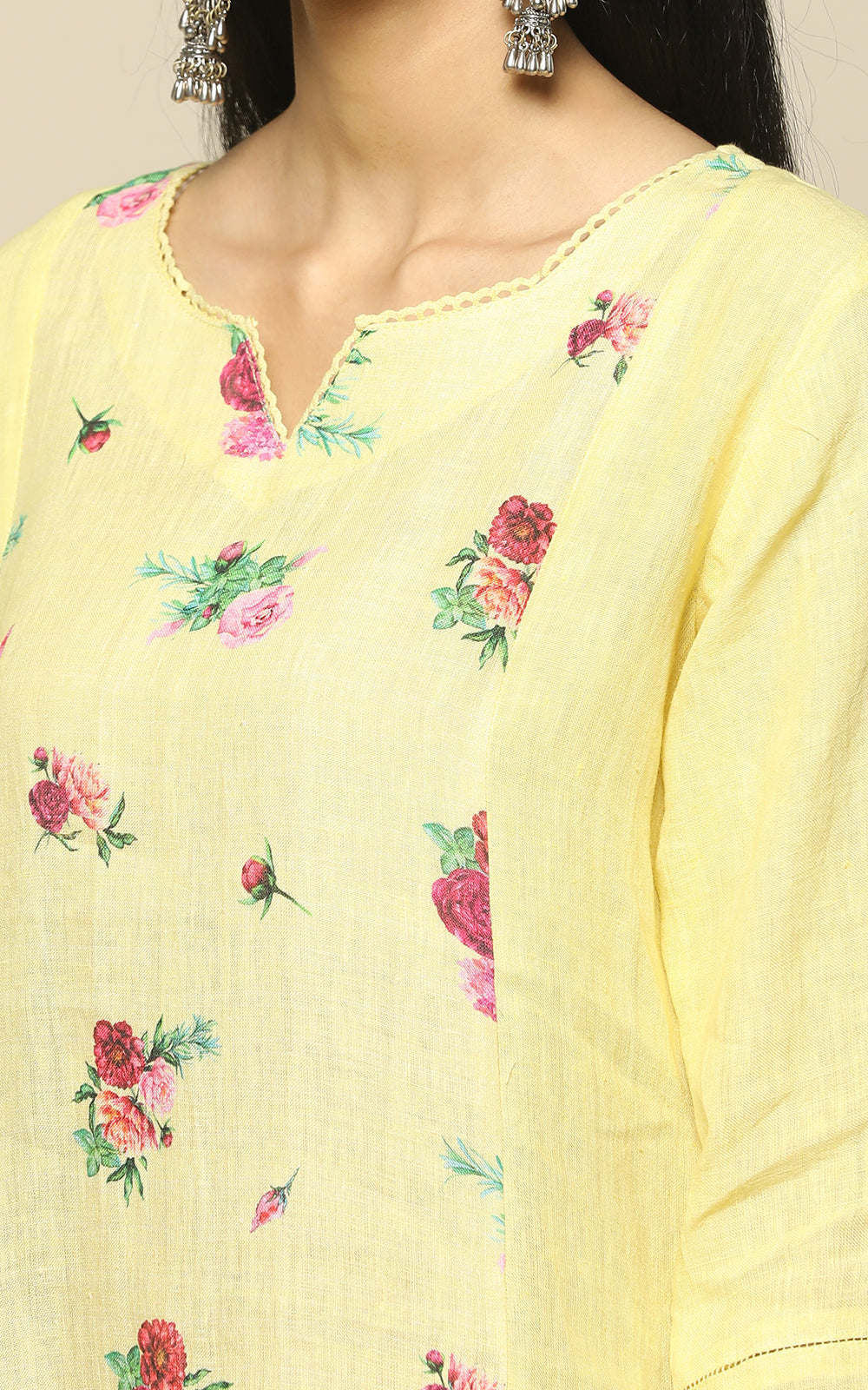 YELLOW LINEN PRINTED FLOWERS WITH PRINTED LINEN DUPATTA