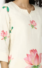 Cream Kurta With Lotus Floral