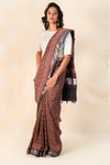 Madder Handloom cotton saree with Ajrakh print - Tina Eapen Design Studio