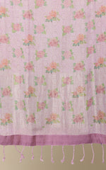 LILAC LINEN PRINTED KURTHA WITH PRINTED LINEN DUPATTA