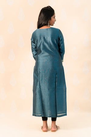 Long Indigo Chanderi Silk Kurta with Ajrakh - Tina Eapen Design Studio