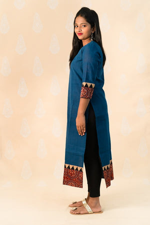 Long Blue Malka Cotton Kurta with Ajrakh - Tina Eapen Design Studio