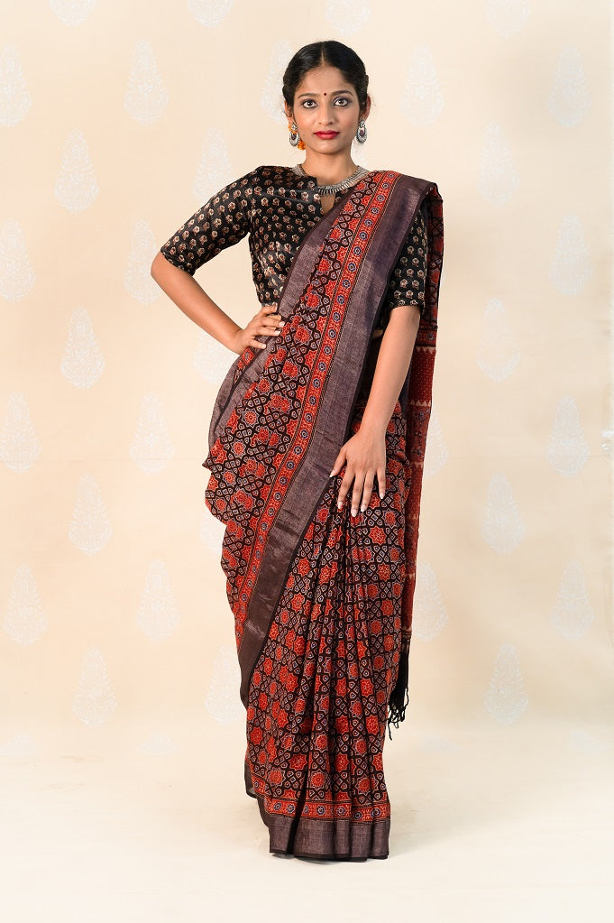 Madder Khadi cotton saree with Ajrakh prints - Tina Eapen Design Studio