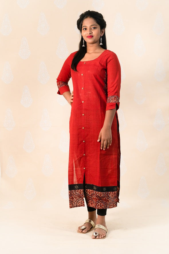 Long Madder Malka Cotton Kurta with Ajrakh - Tina Eapen Design Studio